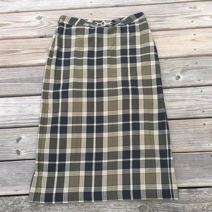 Sag Harbor green plaid long skirt